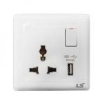 LS V5 1 gang single pole multi socket with usb 13a