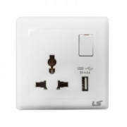 LS V5 1 gang single pole multi socket with usb 13a