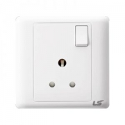 LS V5 1 gang single pole 3 round pin 15a socket