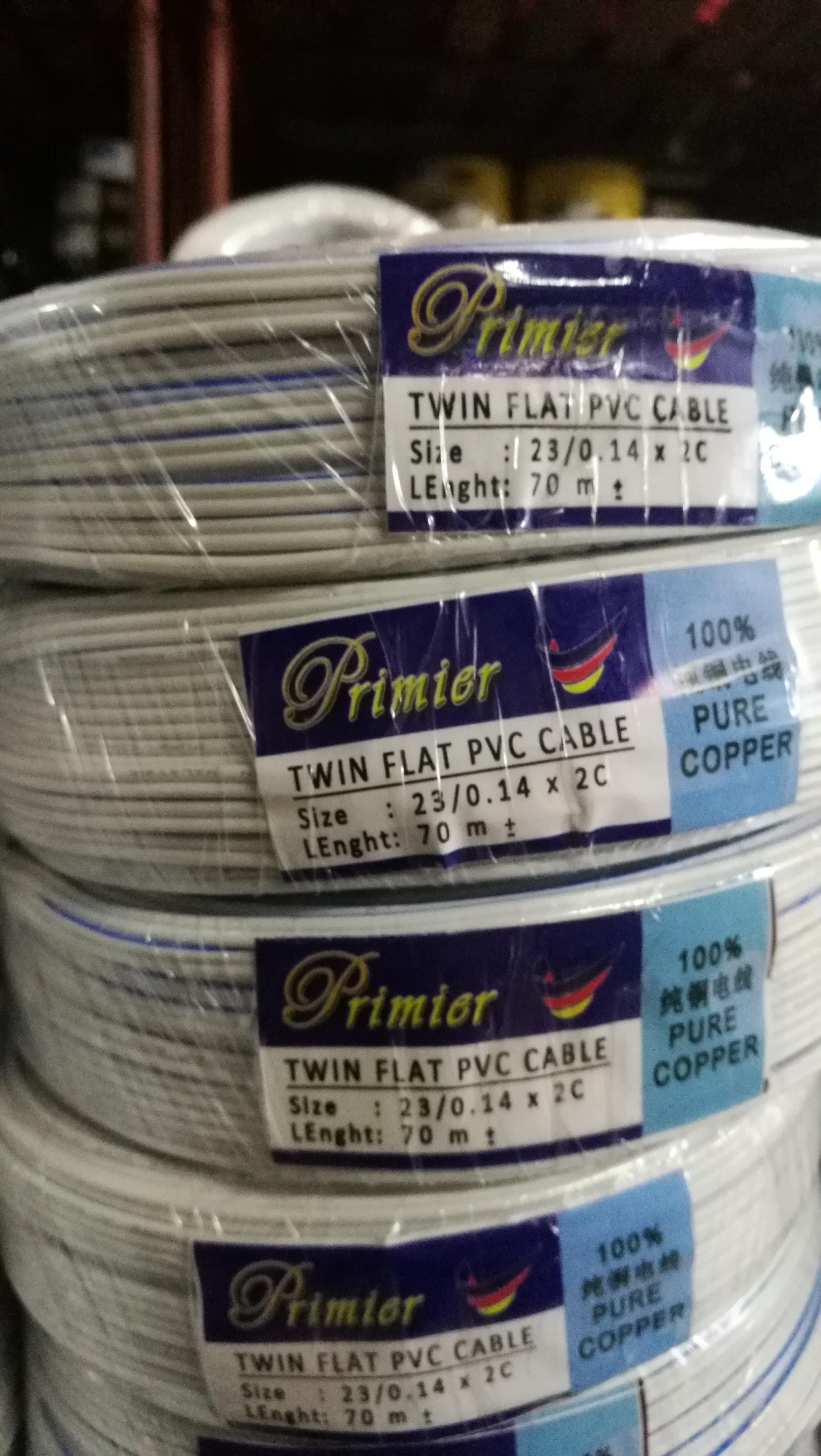 Primier twin flat pvc cable 23/0.14mm x2c 70m