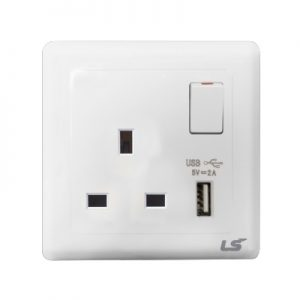LS V5 1 gang single pole socket with usb 13a
